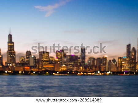 Blurred Chicago Skyline at Dusk - stock photo