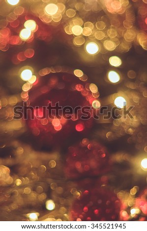 Blurred christmas decoration background with bokeh lights - stock photo