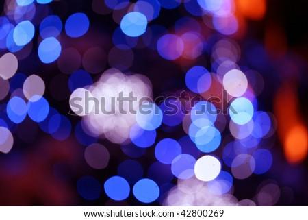 Blurred christmas lights - stock photo