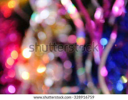 Blurred christmas lights background. De focused Light - stock photo