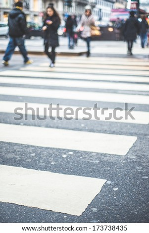 blurred city and people urban scene - stock photo