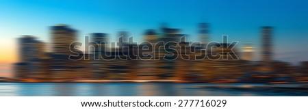 Blurred city background. Manhattan. Evening New York City skyline panorama - stock photo