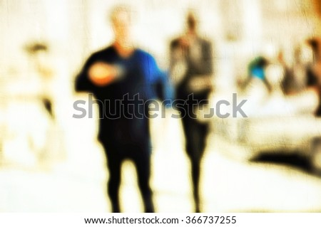 Blurred city business people walking in the street. Urban scene. Abstract background - stock photo
