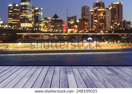 Blurred city lights in Sydney - stock photo
