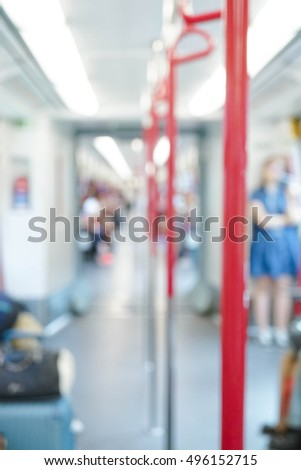 Blurred city people lifestyle background, inside the train