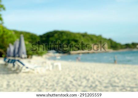 blurred Clear sea and tropical beach on island, at koh lan island Pattaya city Chonburi Thailand. - stock photo