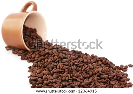 blurred coffee cup and roasted coffee beans isolated on white - stock photo
