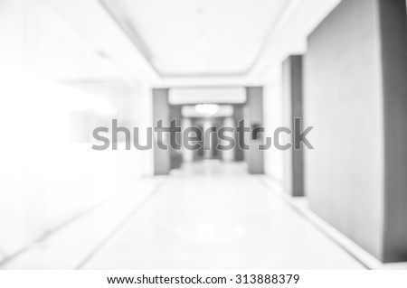 blurred corridor hallway white abstract background