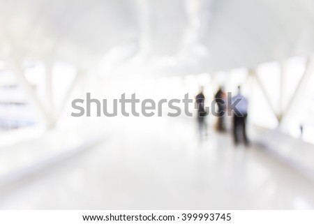 Blurred Corridor in office with blur three man