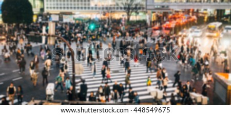 Blurred Crowd of People On Street at Shibuya,Tokyo,Japan,Vintage Toned Image. Blur image background concept. - stock photo