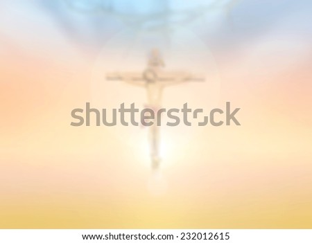 Blurred crown of thorns and Jesus on the cross over sunset background. - stock photo