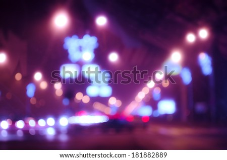 Blurred Defocused city Lights of Heavy Traffic at night - stock photo
