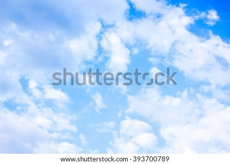 Blurred empty sky surface. blue sky background with tiny clouds. Cloudy blue sky abstract background. Selective focus concept. Nature, Cloud, abstract, blue color, cloudy, copy space, future, heaven. - stock photo
