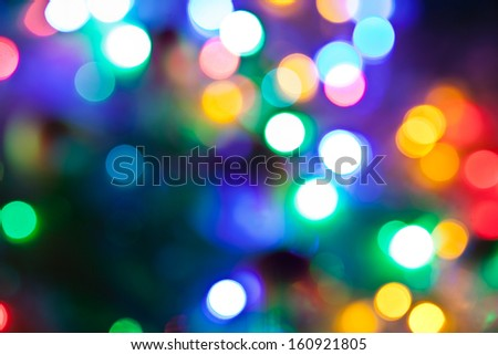Blurred fairy lights background. - stock photo