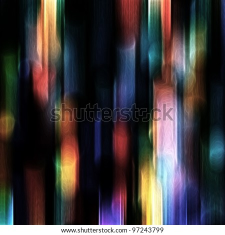 Blurred festive colorful lights over black useful as background - stock photo
