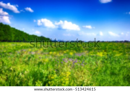 Blurred field with sky during the summer