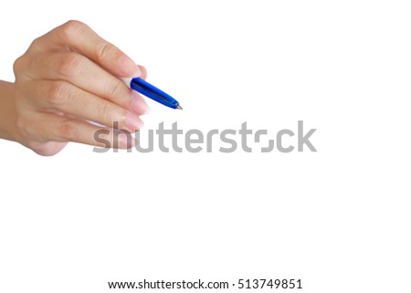 blurred hand writing with blue pen selective focus on the pen head with free space to put letters