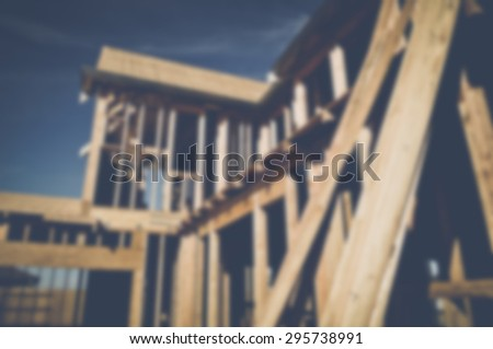 Blurred Home Under Construction with Instagram Style Filter - stock photo