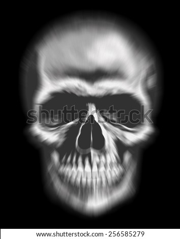 blurred human skull as symbol of fear and death with black background - stock photo