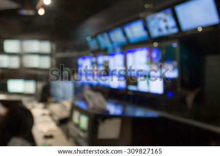 blurred image against television studio