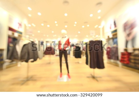 blurred image background with clothing store - stock photo