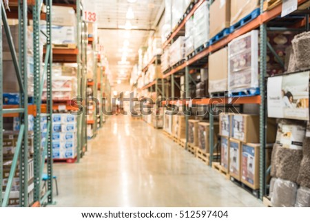 blurred image large warehouse row aisles stock photo edit now