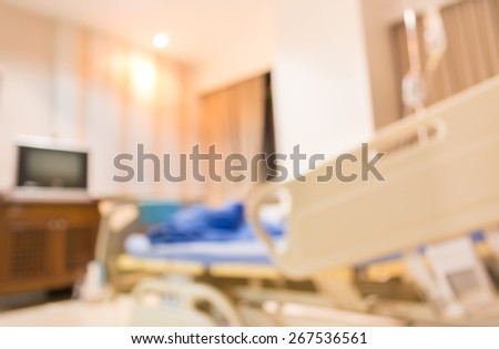 blurred image of  bed in hospital for background usage . - stock photo