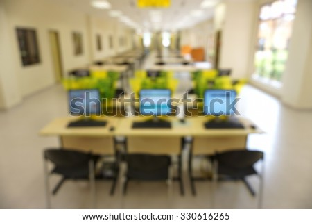 Blurred image of interior public library. Blurred effect. Background - stock photo