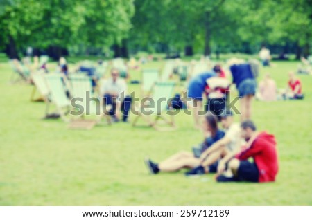 Blurred image of St James's Park in London, UK - stock photo
