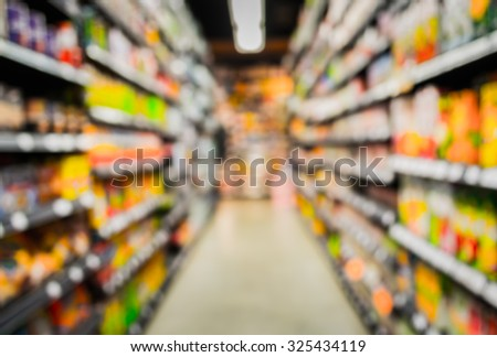 blurred image of  supermarket and variety product for background usage . - stock photo