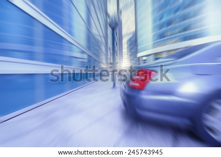 Blurred image of the street of the business city center. - stock photo