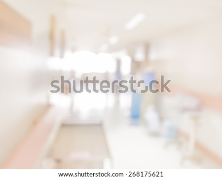 blurred image of walkway in hospital for background usage. - stock photo