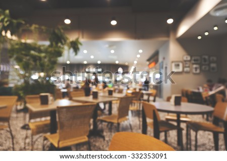 blurred image people in food center with vintage filter - stock photo