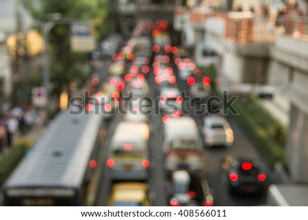 blurred image, traffic jam in Bangkok, thailand.