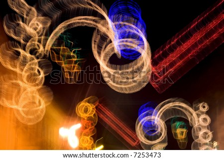 Blurred incandescent night image abstract.Photographic picture.