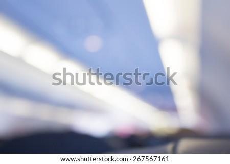 Blurred inside airplane  - stock photo