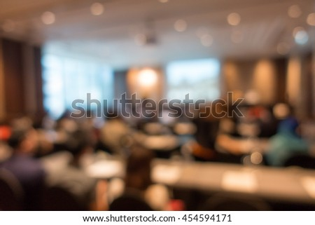 Blurred  international conference,education people sitting in meeting room for profession seminar for background or backdrop picture  - stock photo
