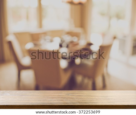 Blurred Kitchen Table and Couch with Instagram Style - stock photo