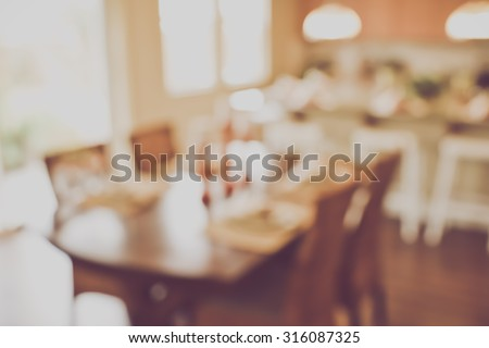 Blurred Kitchen Table with Vintage Instagram Style - stock photo