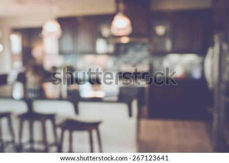 Blurred Kitchen with Retro Instagram Style Filter - stock photo