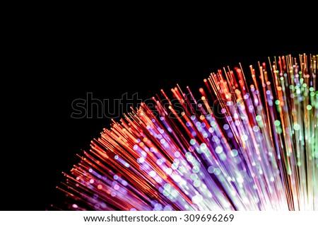 blurred light fiber optic background - stock photo