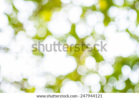 Blurred Lights Bright Green. Spring Bokeh. Abstract Summer Background - stock photo