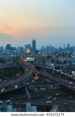 Blurred lights city and highway interchanged, abstract background - stock photo