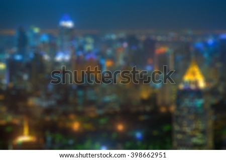 Blurred lights from the top view of skyscrapers, Bangkok. - stock photo