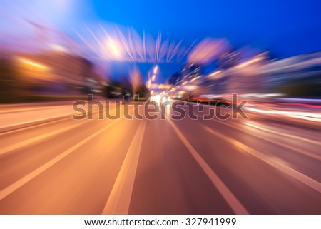 Blurred lights, long exposure photo of traffic - stock photo