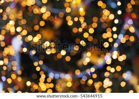 blurred lights of Christmas tree, abstract background