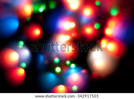 Blurred lights on black background - stock photo