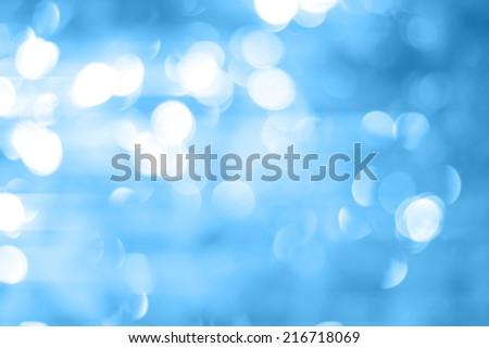 Blurred Lights on blue background or Lights on blue background. Filtered color. - stock photo