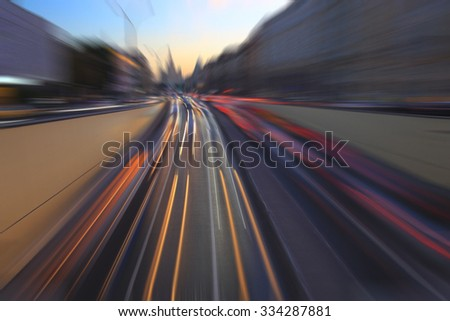 blurred lines background tracks lights - stock photo