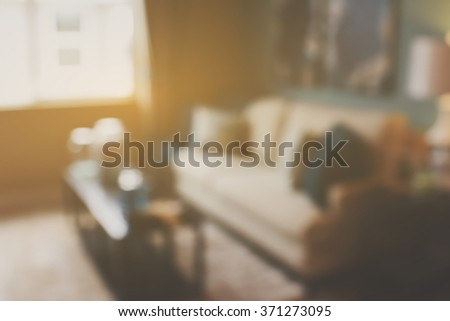 Blurred Living Room with Couches and Retro Instagram Style Filter - stock photo